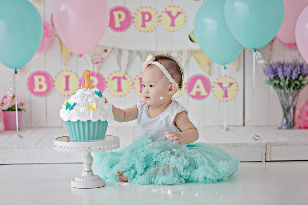 blue pink cake smash baby girl puchong